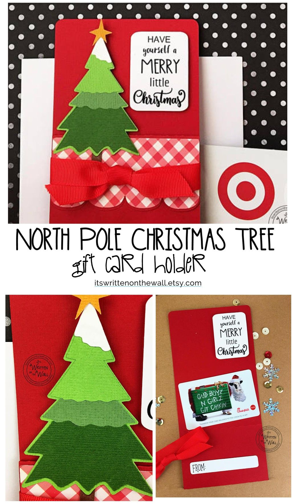 North Pole Christmas Tree Gift Card Holder Teacher Appreciation Employee Gift Ca Christmas Tree Gift Card Holder Creative Diy Gifts Christmas Tree With Gifts