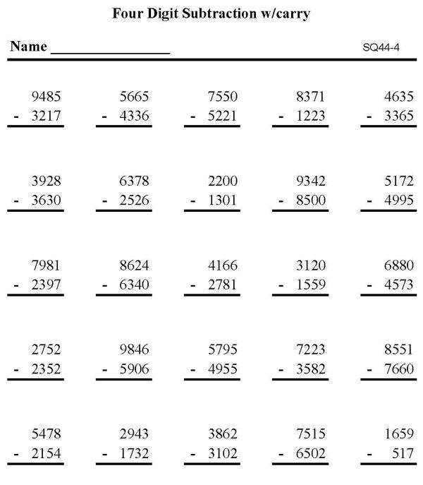 Bluebonkers Subtraction Math Worksheet Triple Digit Subtraction P4 Math Worksheets Math Practice Worksheets Practices Worksheets