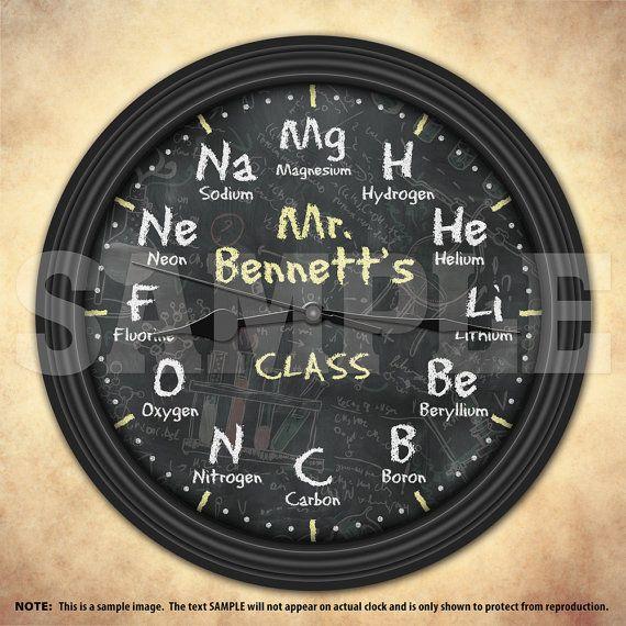 Química ciencia pizarra personalizada reloj de pared decorativo - new tabla periodica nombre y simbolos de los elementos
