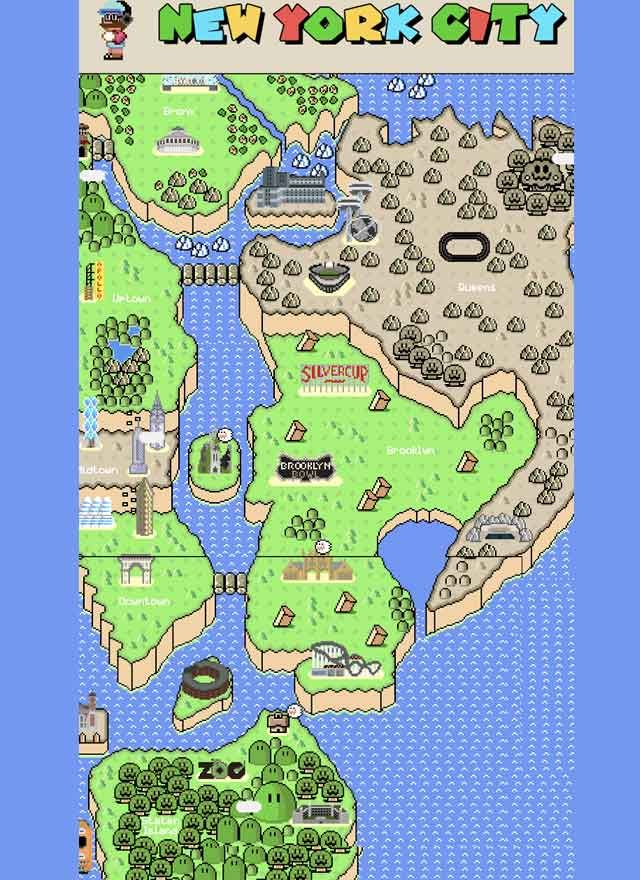 A Super Mario map of New York City by Jessie Eisemann Follow the