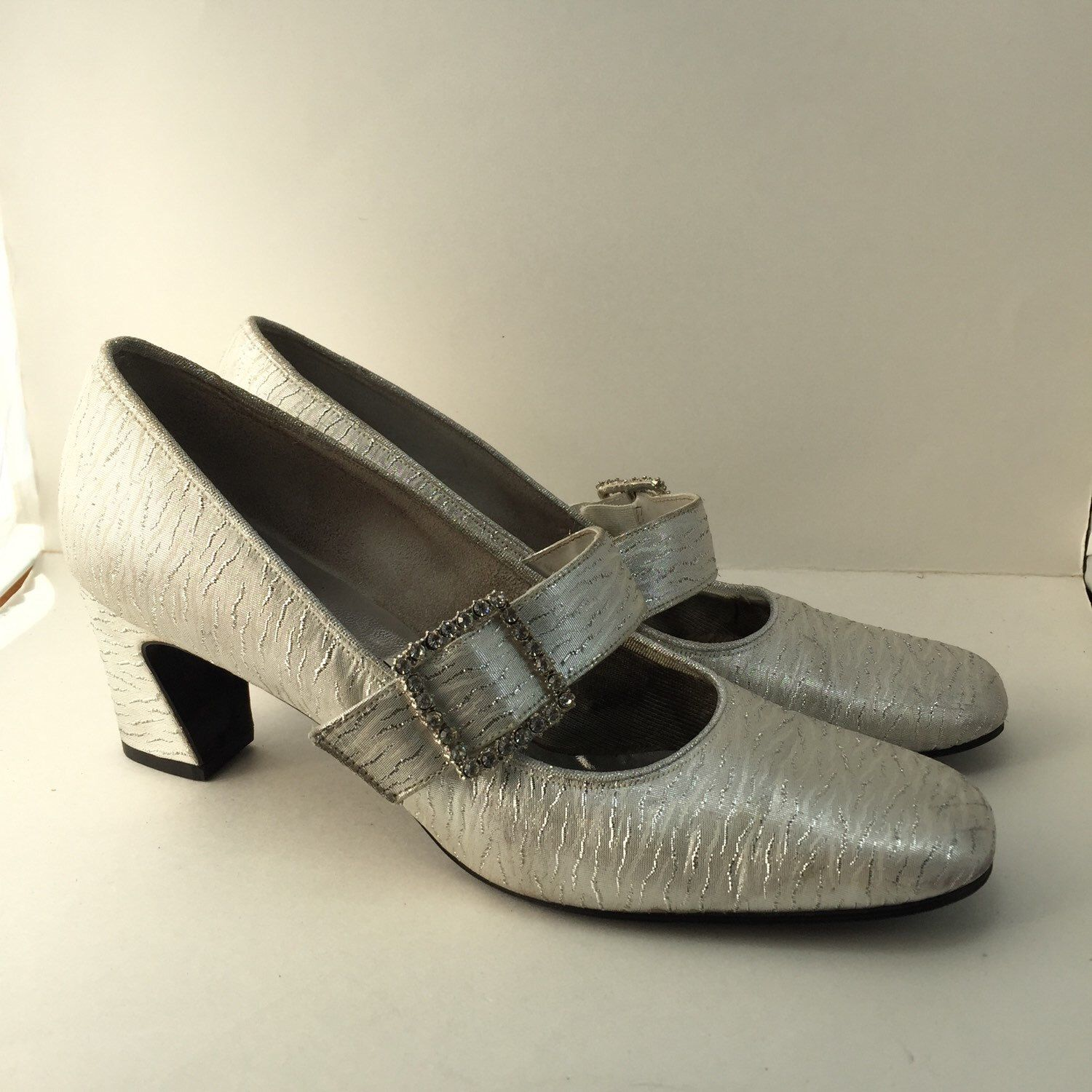 a713019e6ad01 Metallic Silver Mary-Jane Shoes with Rhinestone Buckle Square Toe ...