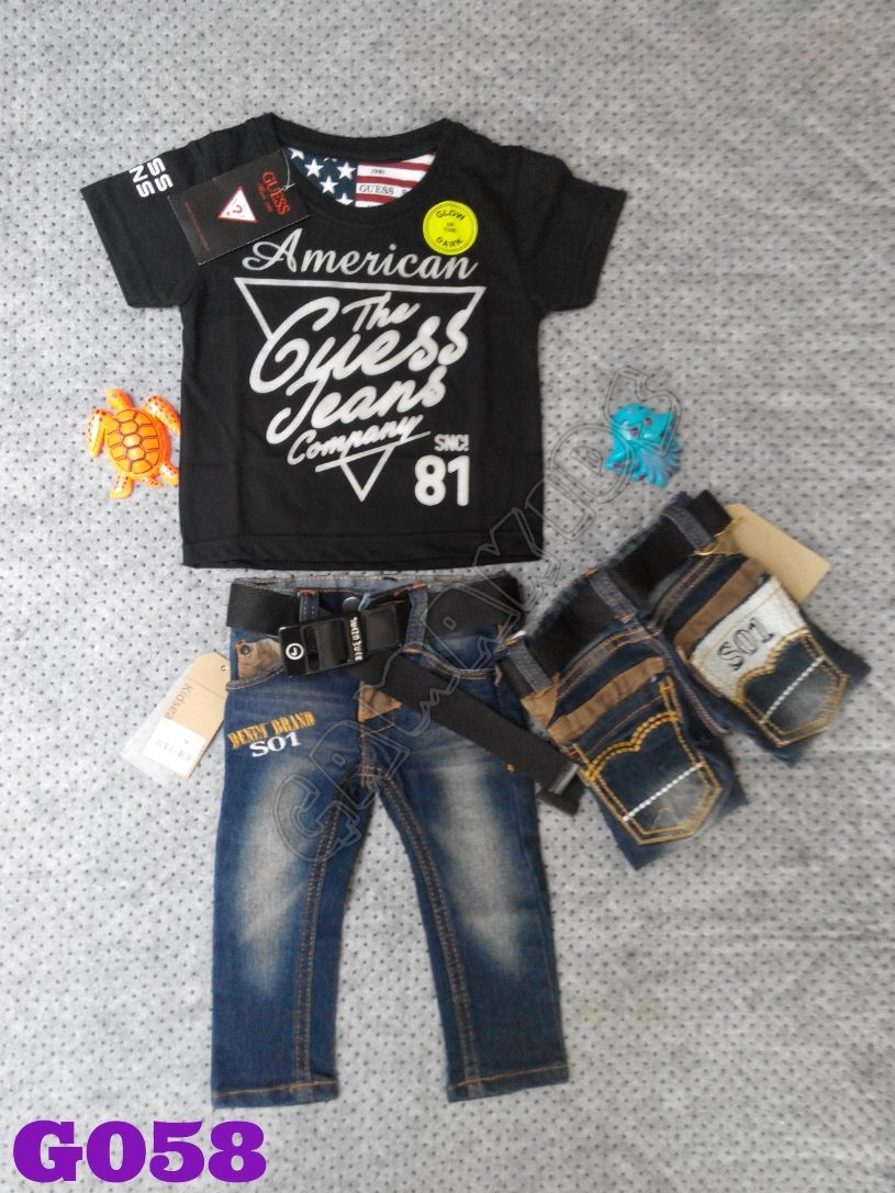 T Shirt Guess Baby Set Glow In The Dark Jeans Belt G059