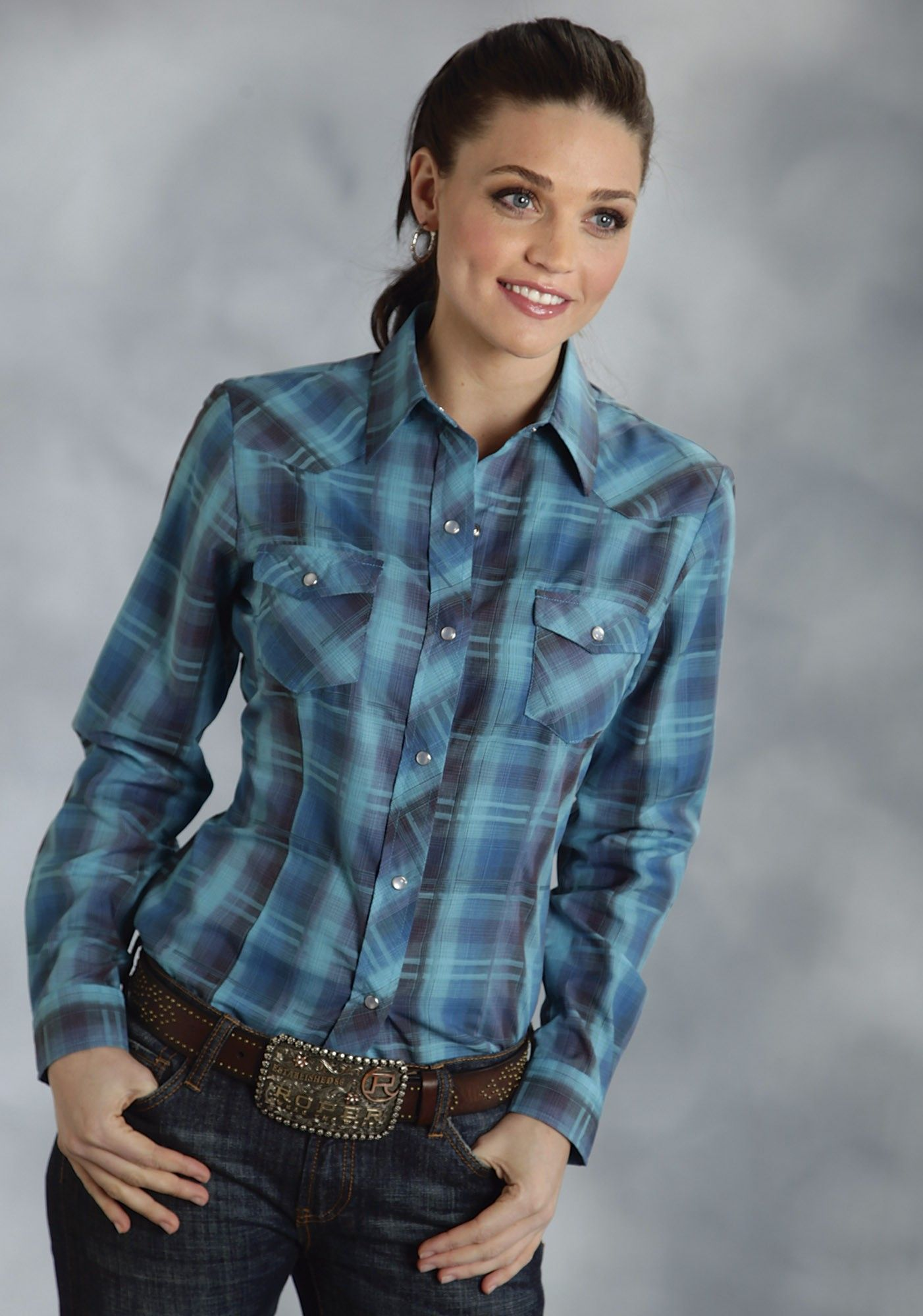 Roper® Women's Turquoise Woven Plaid Long Sleeve Snap Western Shirt