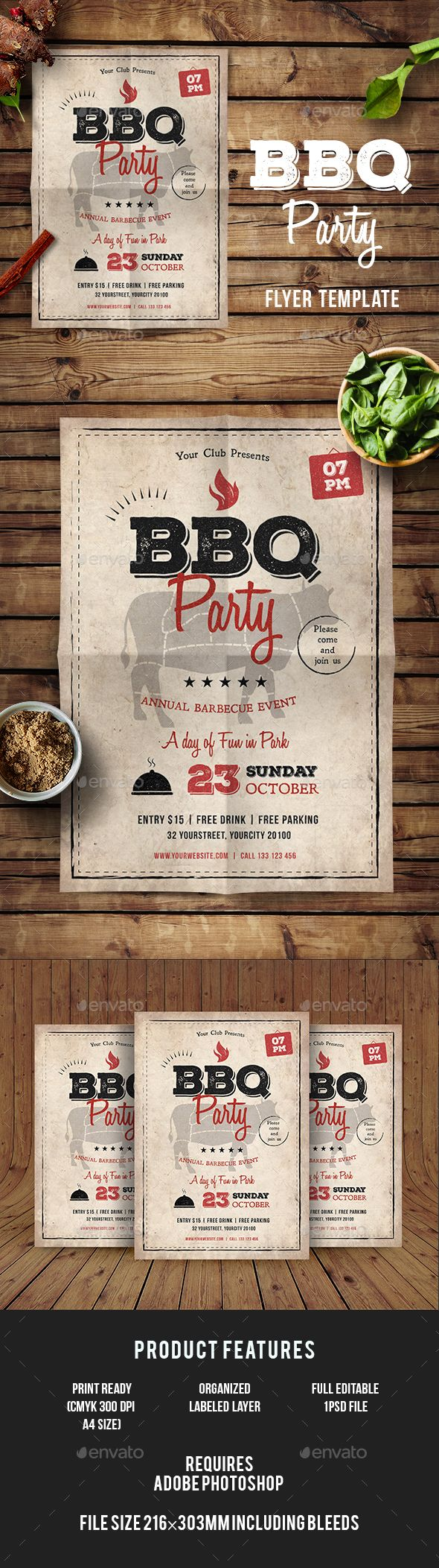 Bbq Flyer  Flyer Template Psd Templates And Text Fonts