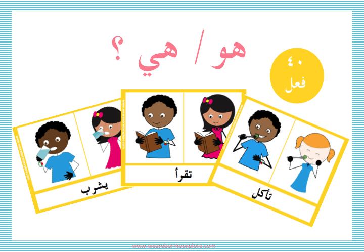 على الطالب أن يدل على الصورة التي تمثل الفعل المكتوب بحسب إذا كان الفعل مؤنث يبدأ ب ت أو مذكر Alphabet Preschool Learning Arabic English Teaching Resources