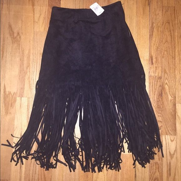 Black Suede Fringe Skirt Black suede fringe skirt. Perfect for a night out! Skirts Midi
