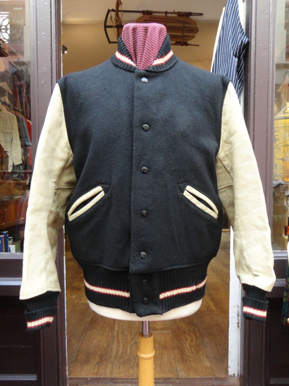Vintage Black Wool College Baseball Jacket Leather Sleeves d21tNJ