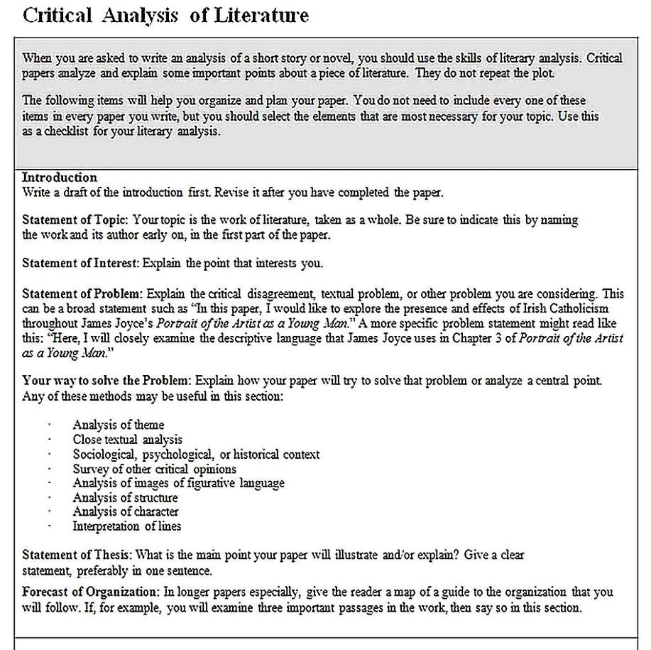 Sample Critical Analysi Reading Literary Analysis Example Of A Thesi Statement For Paper