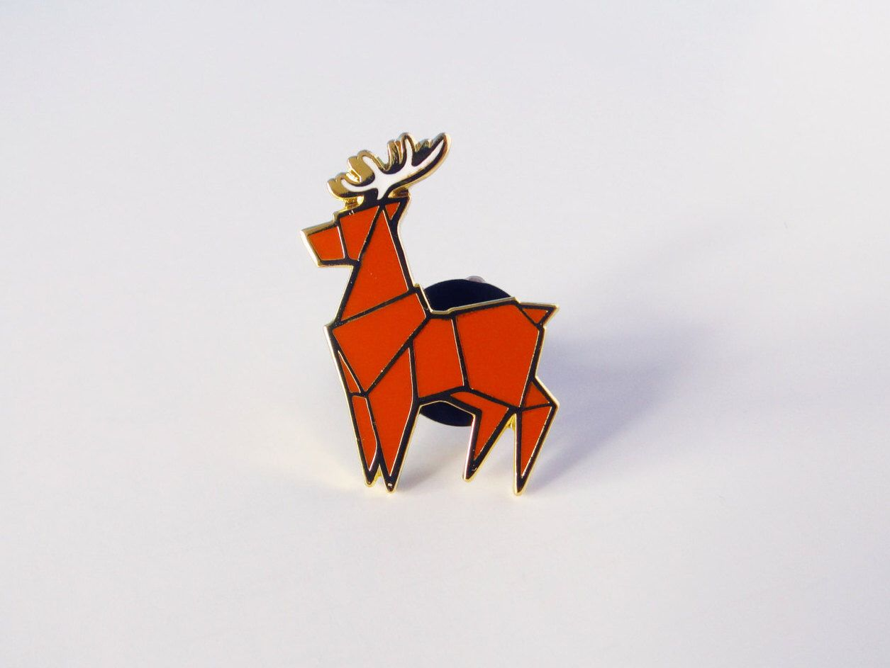 origami stag enamel pin by redribbonshoppe on Etsy https://www.etsy.com/ca/listing/474349418/origami-stag-enamel-pin