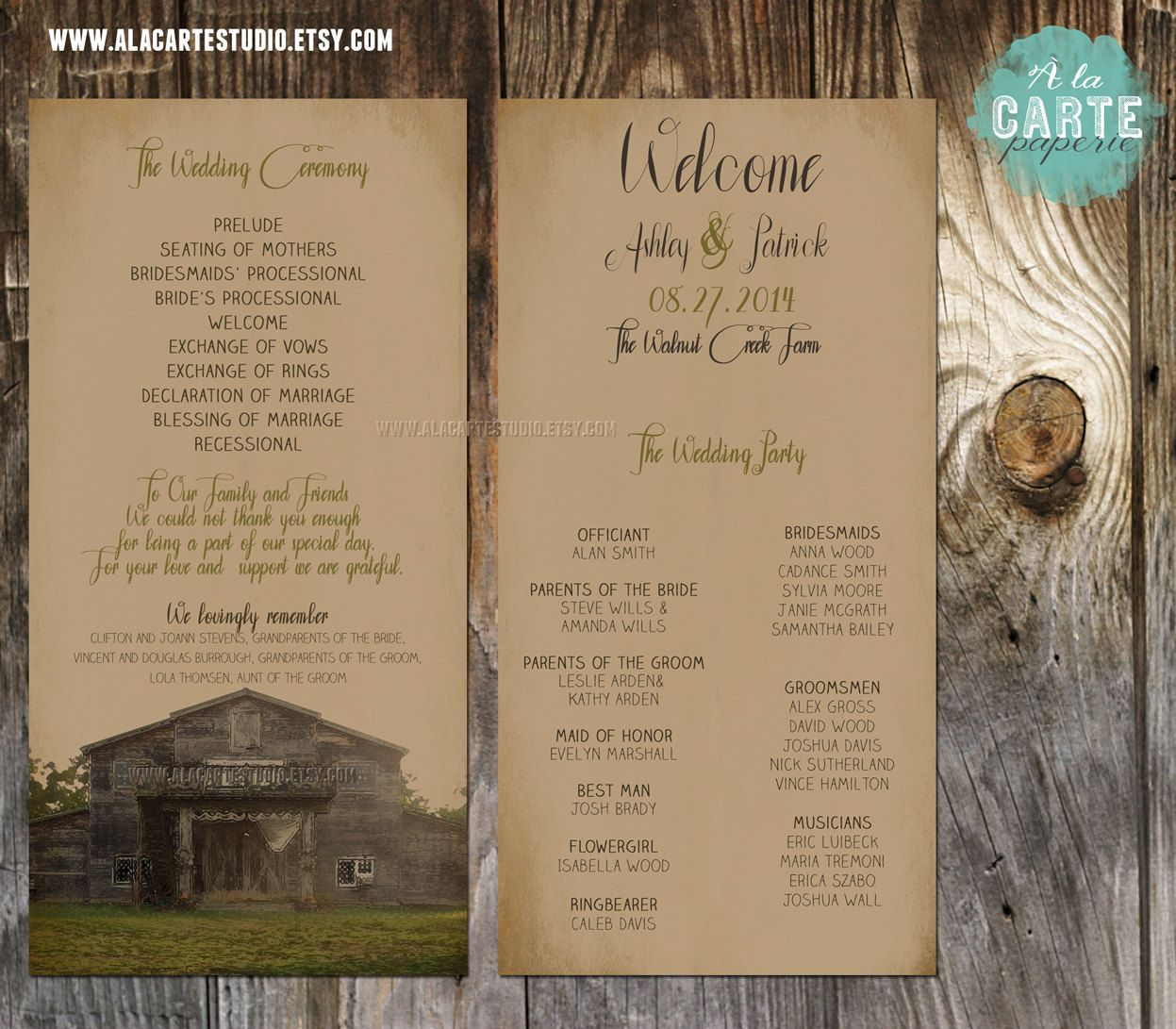 Items Similar To Rustic Barn Wedding Ceremony Cards