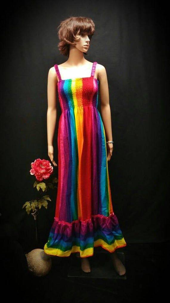Rainbow maxi sundress boho elastic straps ruffle woman maxi   Etsy Gallery