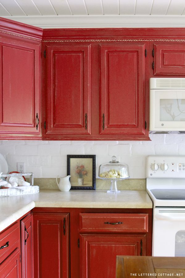 red painted kitchen cabinets inexpensive kitchen fix up ideas countertop backsplash 25195