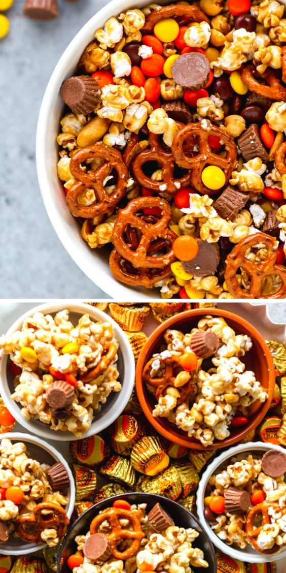 Chocolate Peanut Butter Sweet and Salty Popcorn Snack Mix