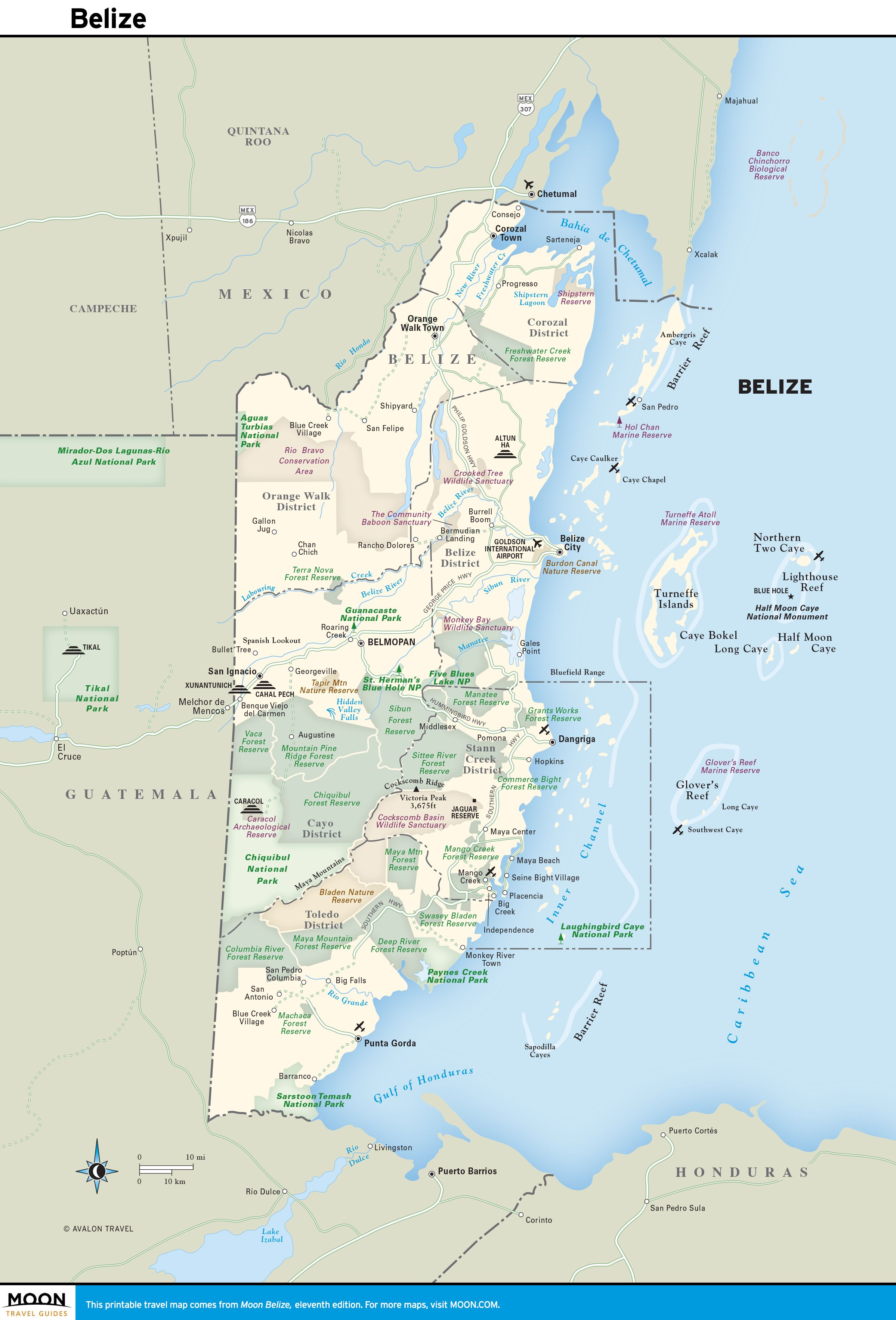 Printable travel maps of belize belize travel maps and belize city color map of belize gumiabroncs Image collections