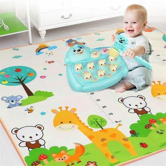 Baby Crawling Play Mat 1.5*1.8 Meter Climb Pad Double-Side Fruit Letters Animal Foldable Baby Toys P