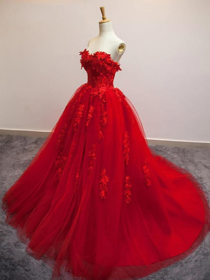 f8949862861ac Sweet 15 16 Red Prom Evening Gowns Sweetheart Tulle Applique Princess A  Line Quinceanera Dresses