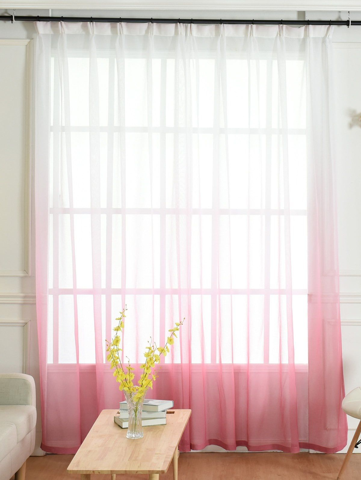 Ombre Sheer Tulle Curtain Decorative Window Screen Tulle