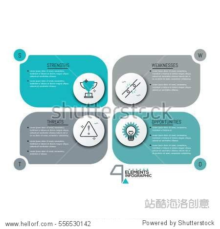 Creative Infographic Design Template  Rectangle Text Boxes With