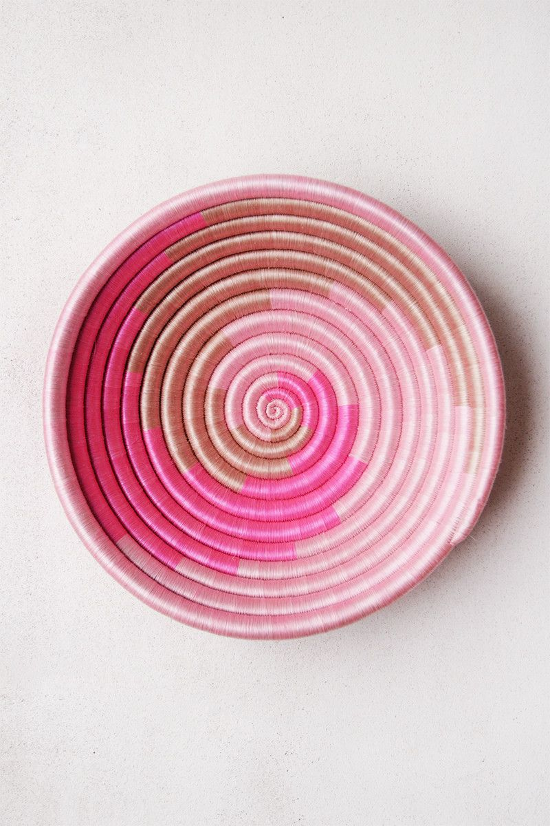 Hand Woven Plateau Basket - Hot Pink Swirl