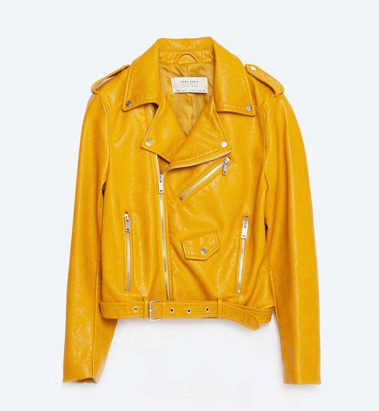 Zara veste en cuir jaune