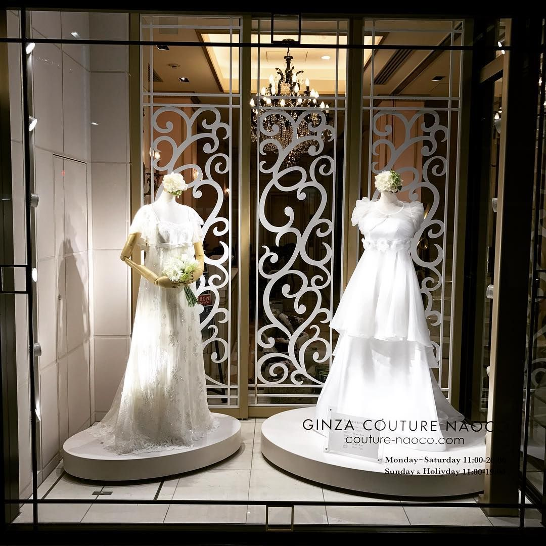 """NAOCO COUTURE, Ginza, Tokyo, Japan, """"Listen Kylie... If I promise you a fancy dress and extra cake... Will you be our Flower Girl?"""", photo by Windows Of The World, pinned by Ton van der Veer"""