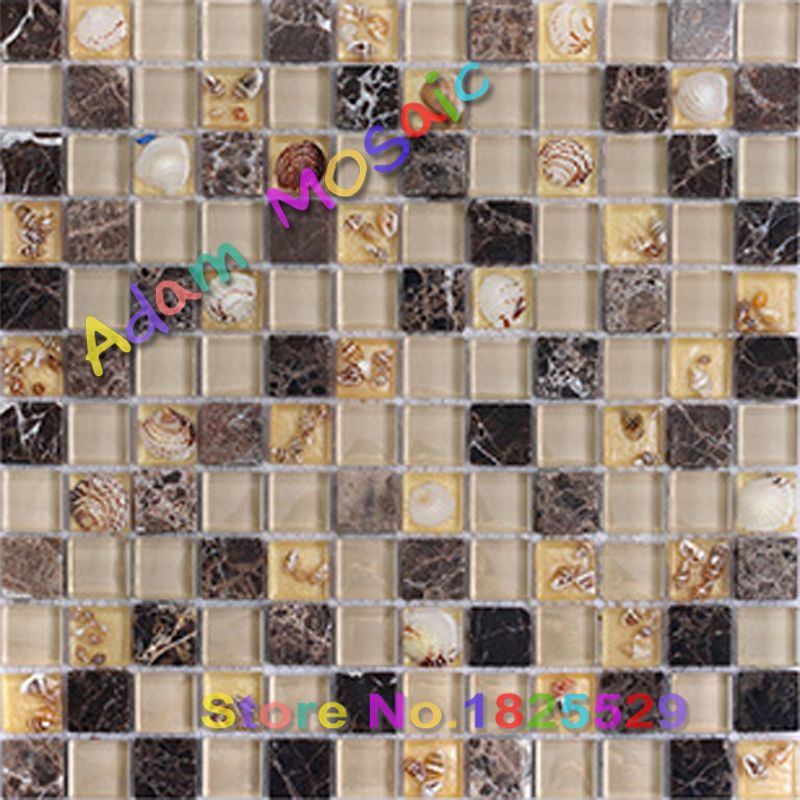 natural stone tile brown kitchen wall glass conch tile mix ...