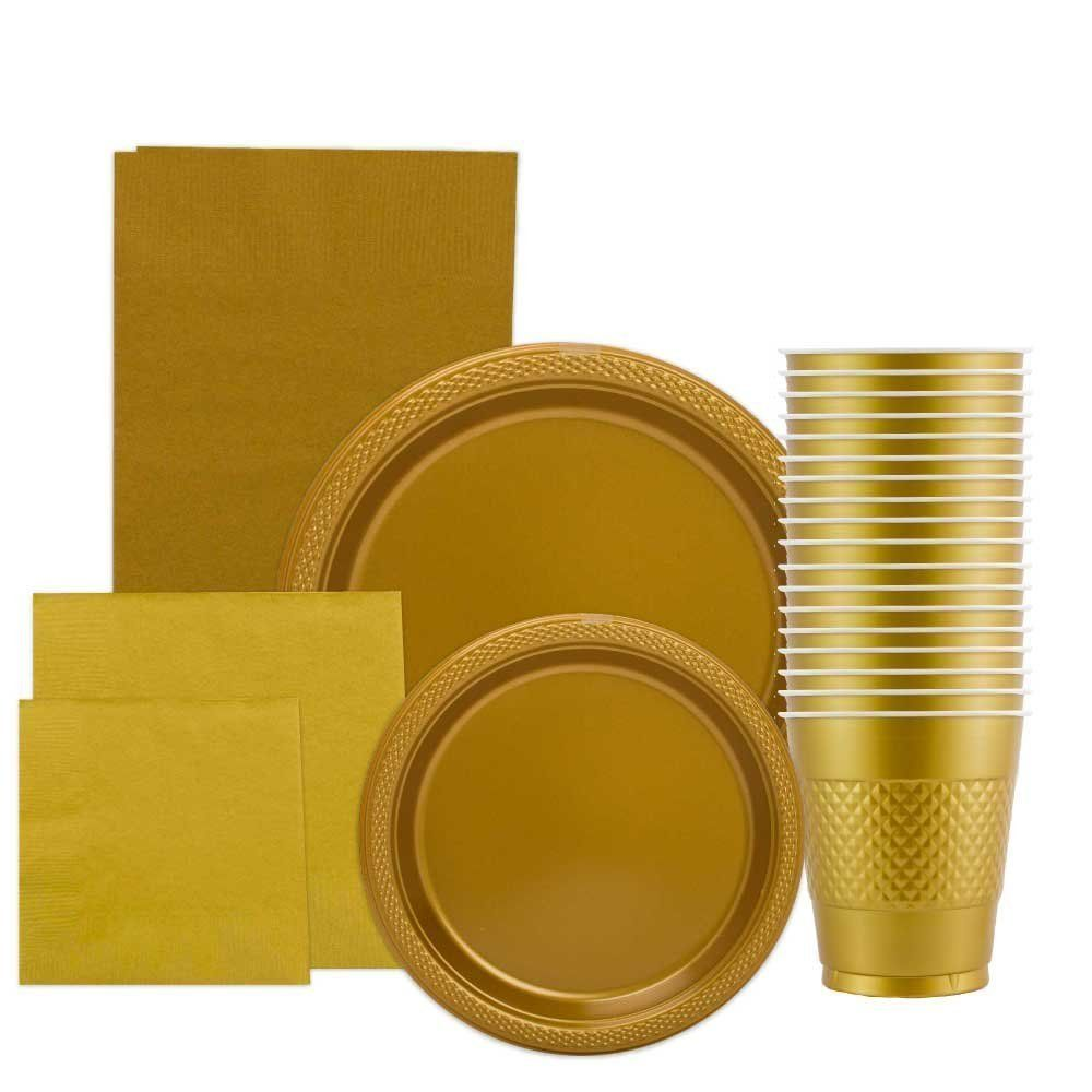 Amazon.com: JAM Paper® Gold Party Supply Assortment Pack - Plates (2 Sizes)…