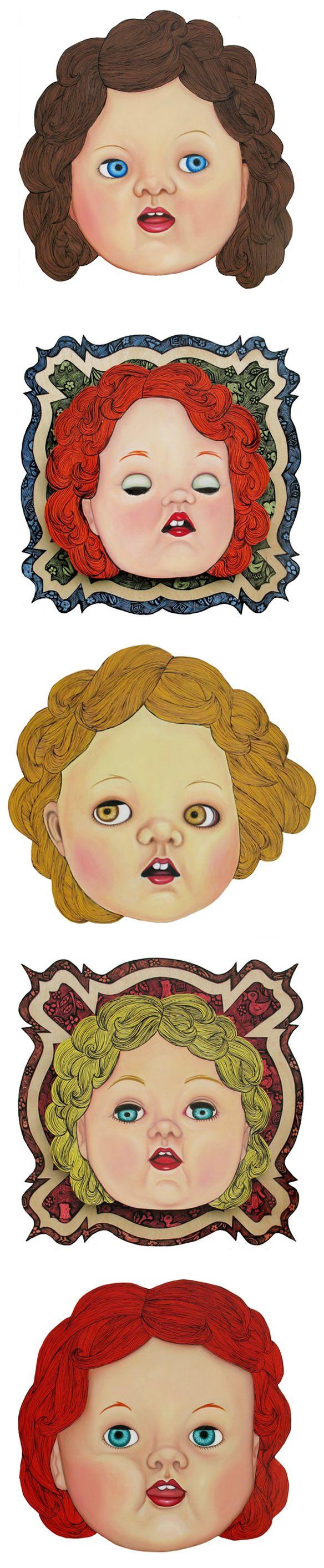 andrea hooge - doll head paintings on cut wood? <3 !!!
