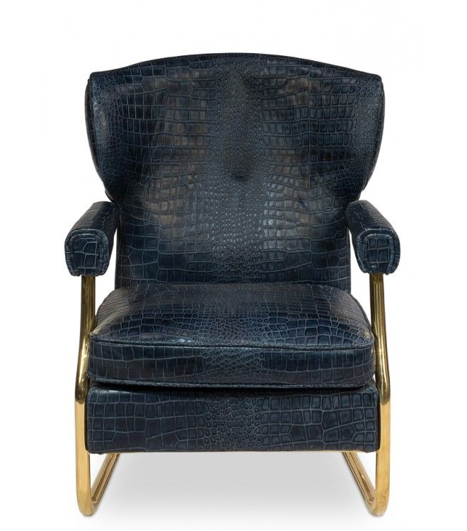 Blue Leather Croc Print Gold Accent Living Room Chair Living Room Crocodile  Embossed Furniture Blue Leather