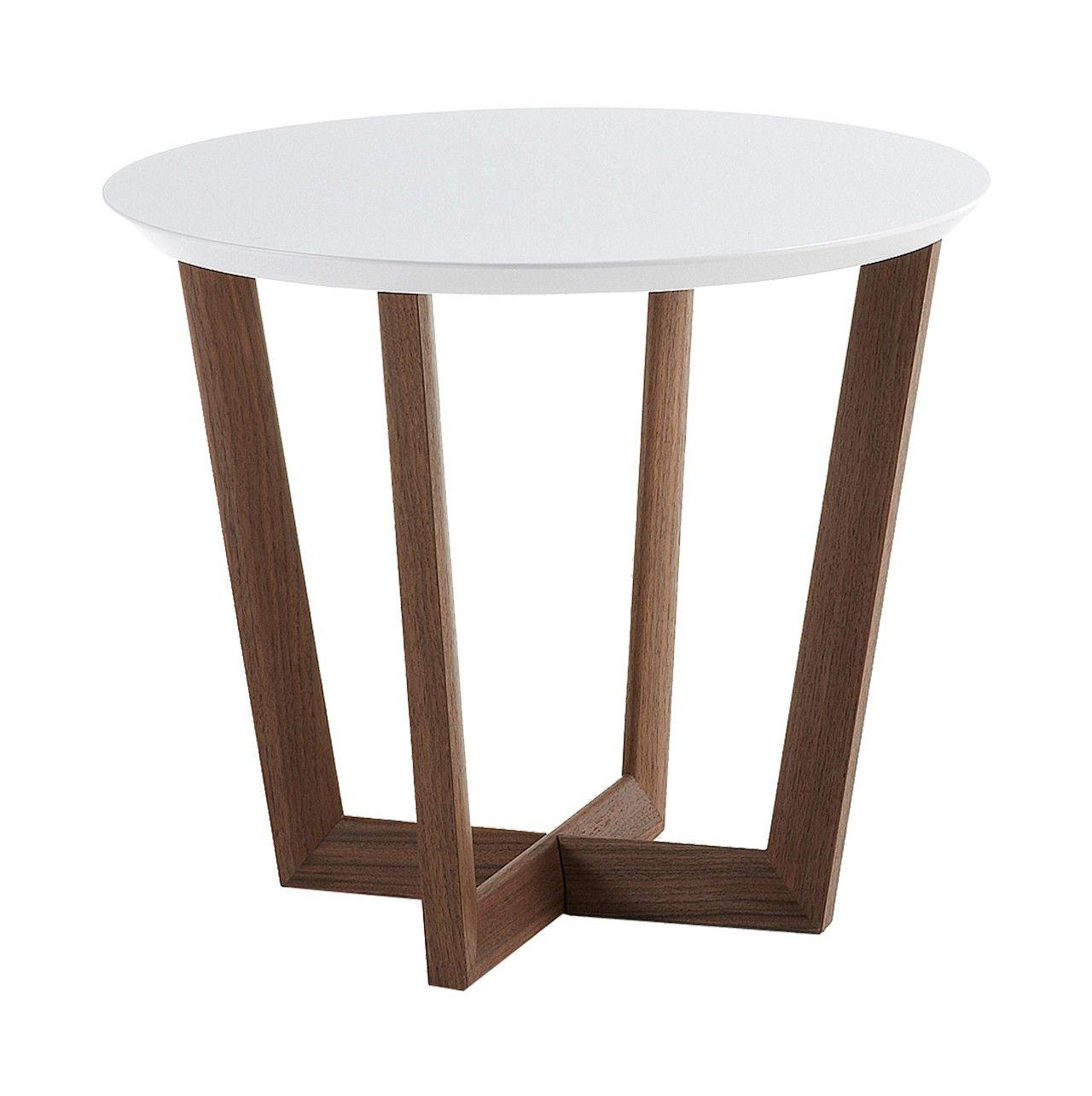 Mesa #auxiliar #redonda con estructura #chapada en nogal - sobre en ...