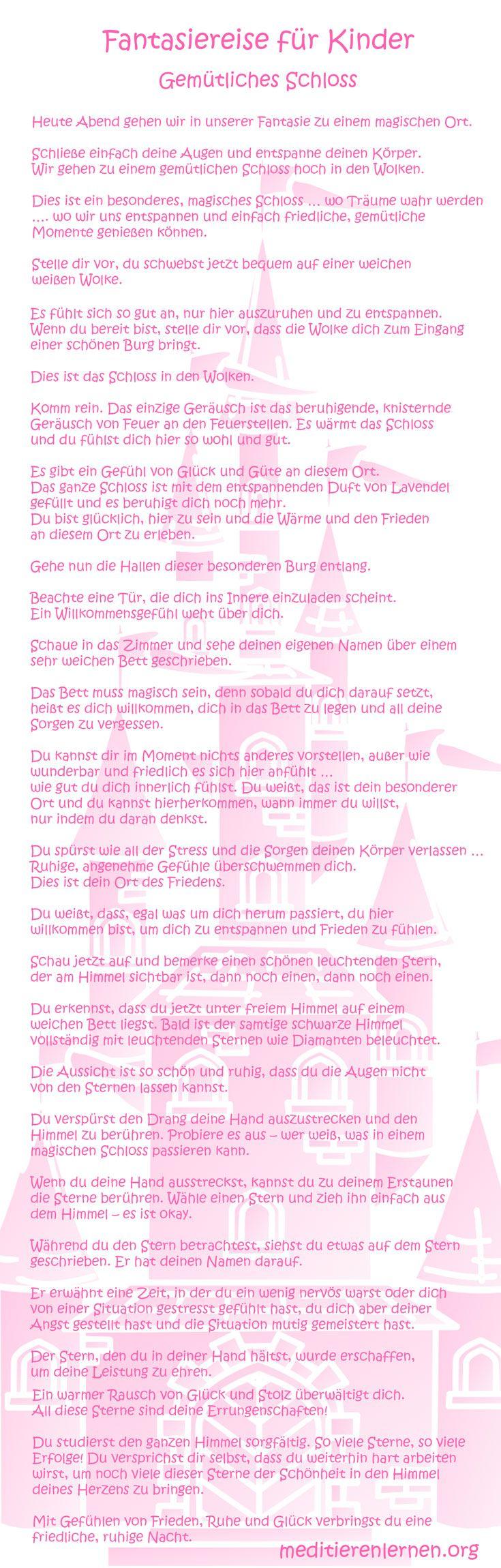Fantasiereise für Kinder Text Gemütliches Schloss. Originalbeitrag auf meditie …