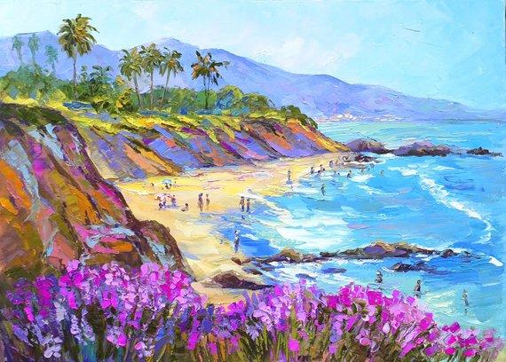 Laguna Beach Canvas Art California Original Painting Vibrant Color Colorful Textured Seacoast 20x28 Beach Painting Oil Painting Nature Beach Canvas Art