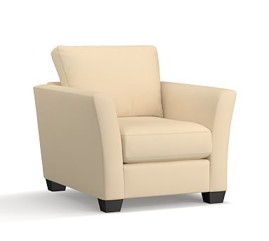 PB Comfort Fin Arm Upholstered Armchair, Box Edge Down Blend Wrapped Cushions, Brushed Canvas Honey