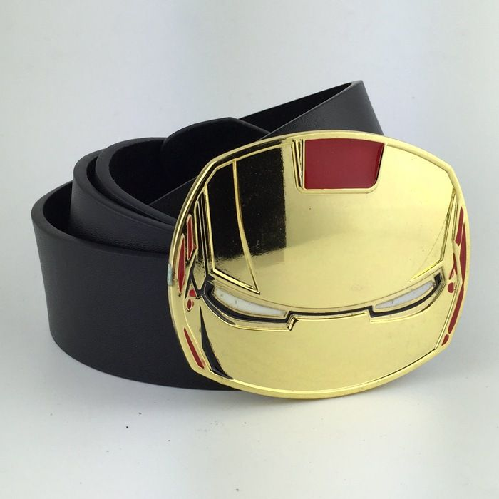 Cool Belts Part - 16: New Arrival Superhero Iron Man Gold Metal Belt Buckles PU Leather Mens Cool  Belts For Jeans