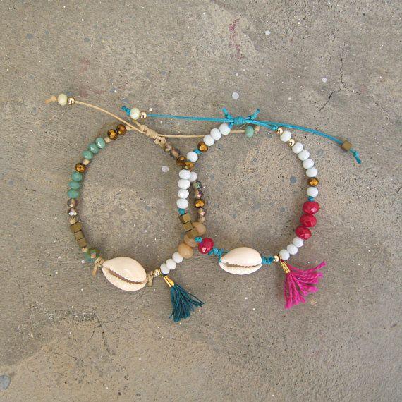 Silver Lifet Boho Bracelet de cheville en coquillages fait /à la main Argent