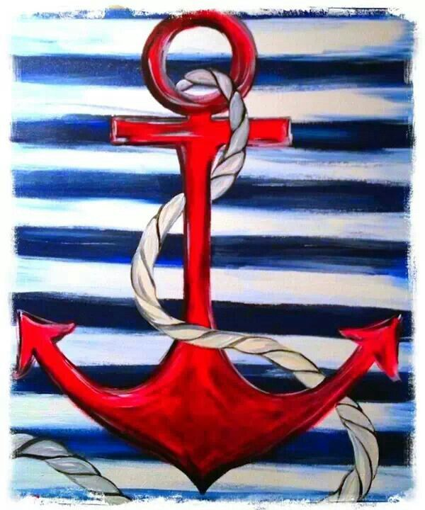 Easy Canvas Anchor Painting Nautical Painting Painting