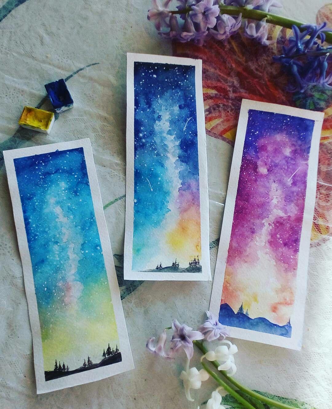 Watercolor Bookmarks Watercolor Bookmarks Mini Canvas Art