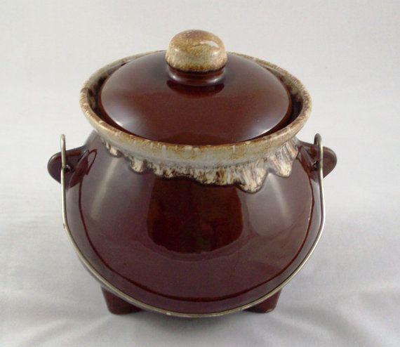 Vintage Bean Pot Hull Pottery Brown Drip Glaze Lid Metal Handle Wire Handle Ceramic Feet Cookie Jar Hull Pottery Ceramic Pottery Antique Pottery