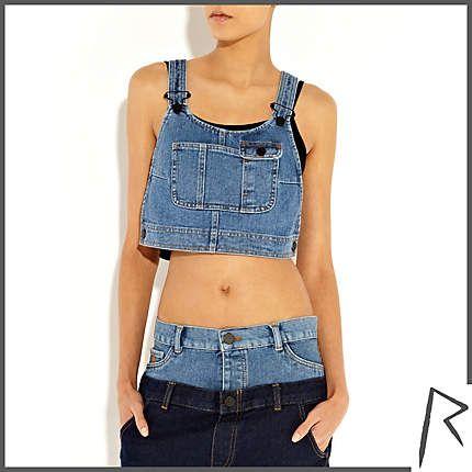 ff92f1cf60d5a Mid wash Rihanna denim dungaree crop top - tops   t-shirts - rihanna for  river island - women