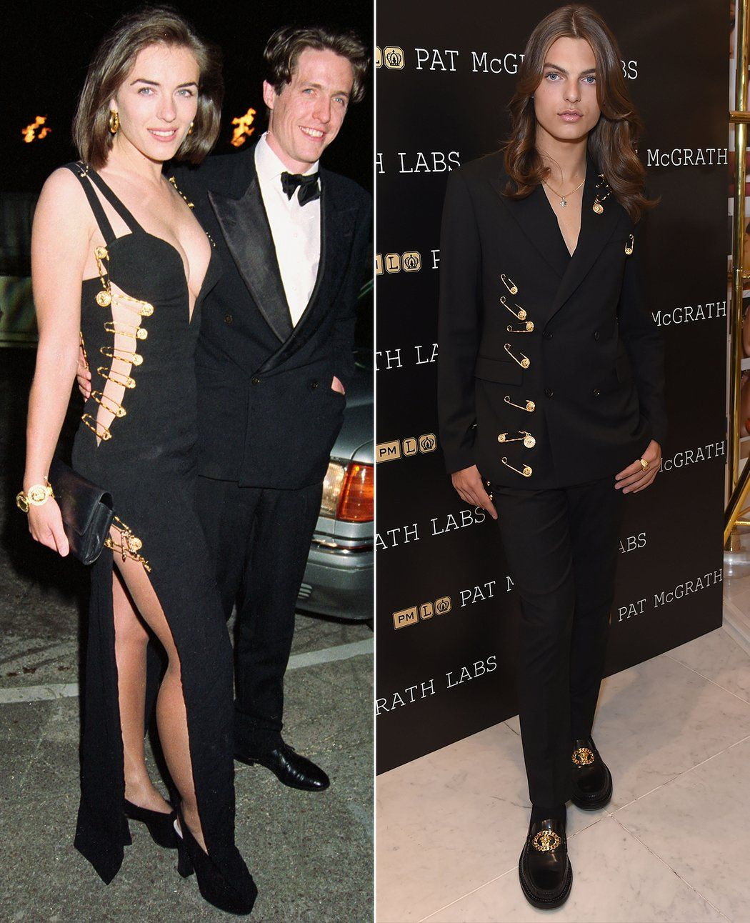 Elizabeth Hurley S Son Damian Recreates Her Iconic Versace Safety Pin Outfit On Red Carpet Elizabeth Hurley Famous Fashion Hurley
