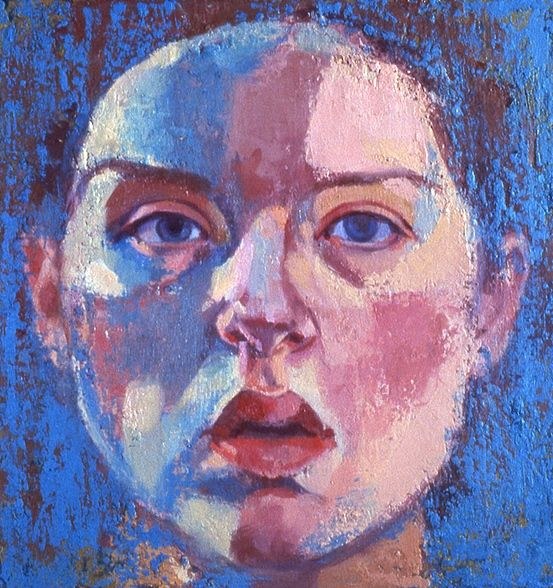 oil painting canvas self portrait blue face by painter Christina Renfer Vogel