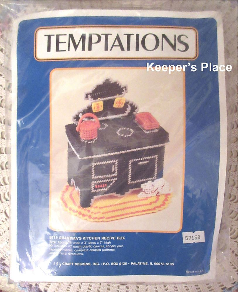 Vintage Temptations GRANDMAS KITCHEN RECIPE BOX Plastic Canvas ...