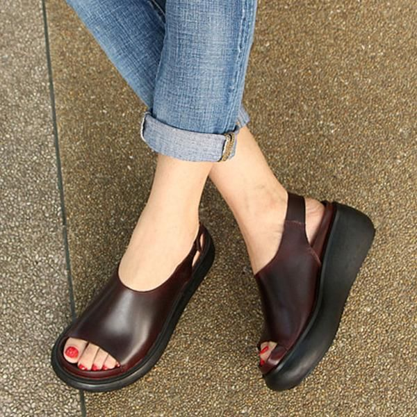 Summer Casual Cow Leather Shoes Coffee Wedge Heel Sandals #women#39;scasualstyle