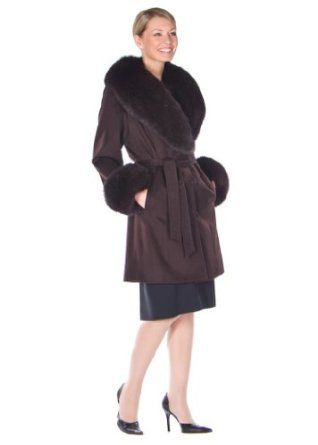 Cashmere Coat with Dark Brown Fox TrimStroller Length Coats and Capes. $1195.00