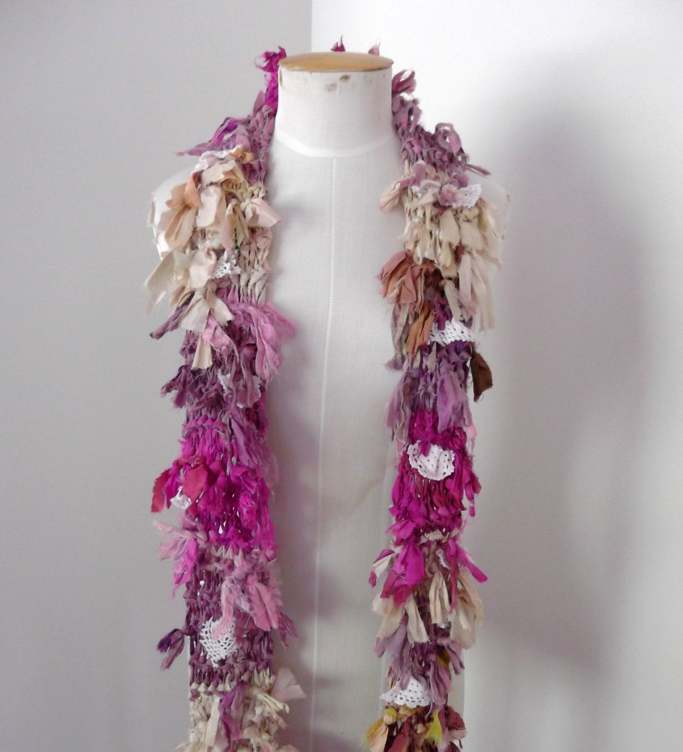 Wild Raggy Distressed Recycled Sari Silk Scarf pink beige cream and vintage lace via Etsy.