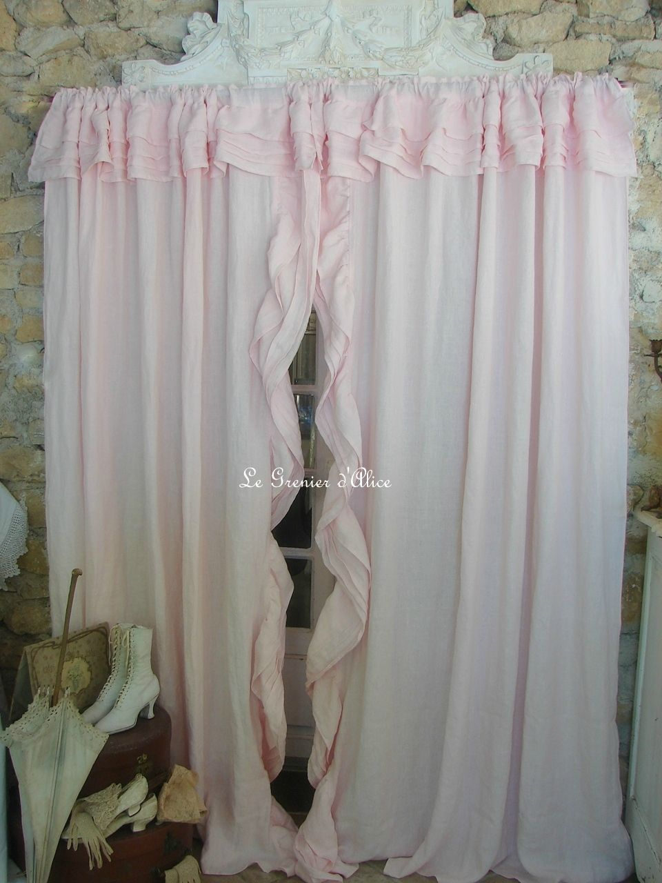Des rideaux shabby chic lin stone washed rose poudr le for Rideaux style shabby