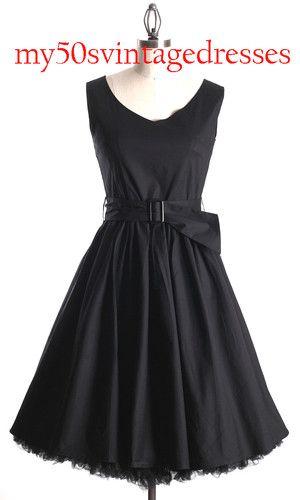 50s Audrey Hepburn Style Little Black Dress Size S Pinup Vintage