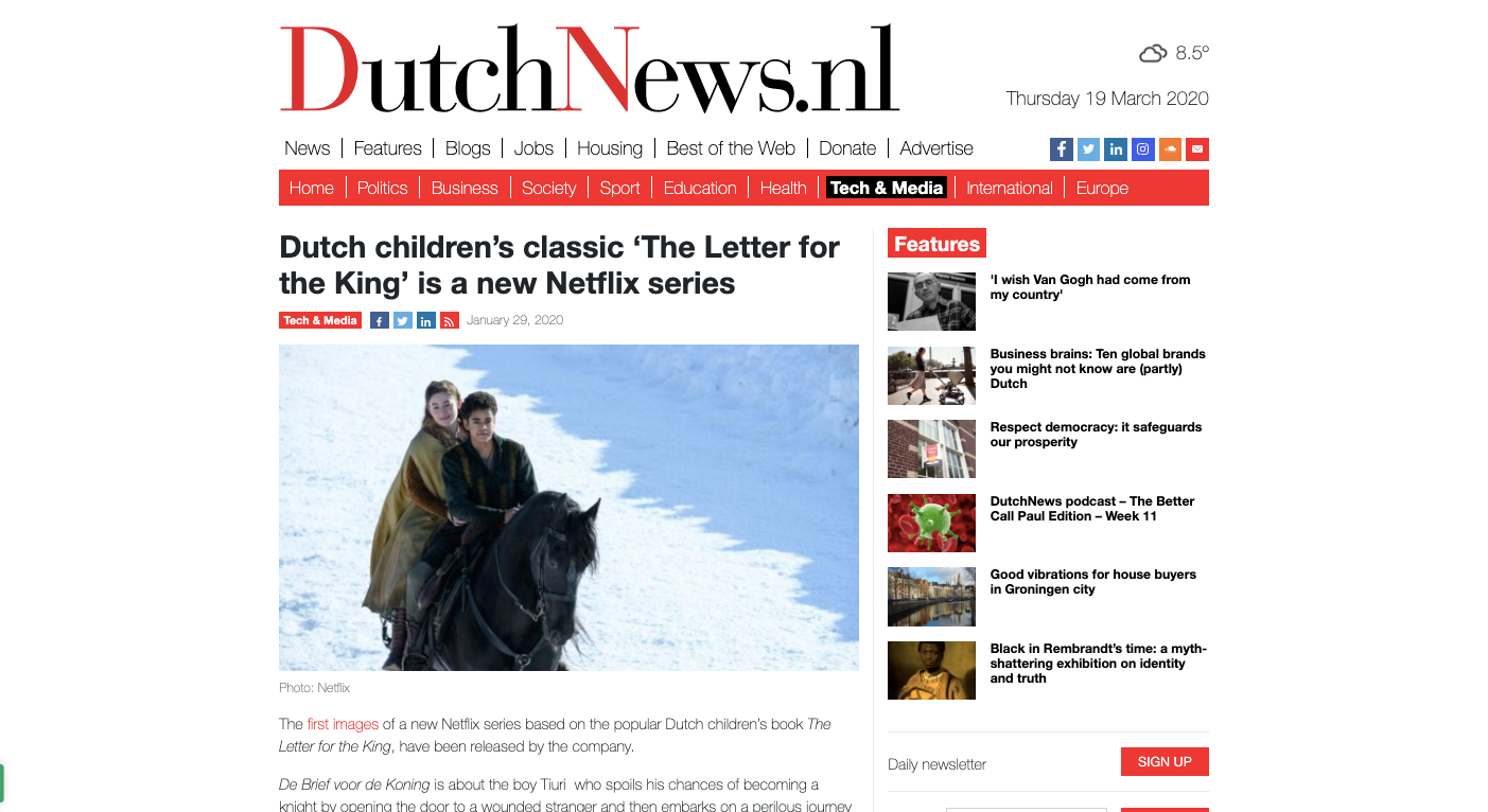 Dutch children's classic 'The Letter for the King' is a
