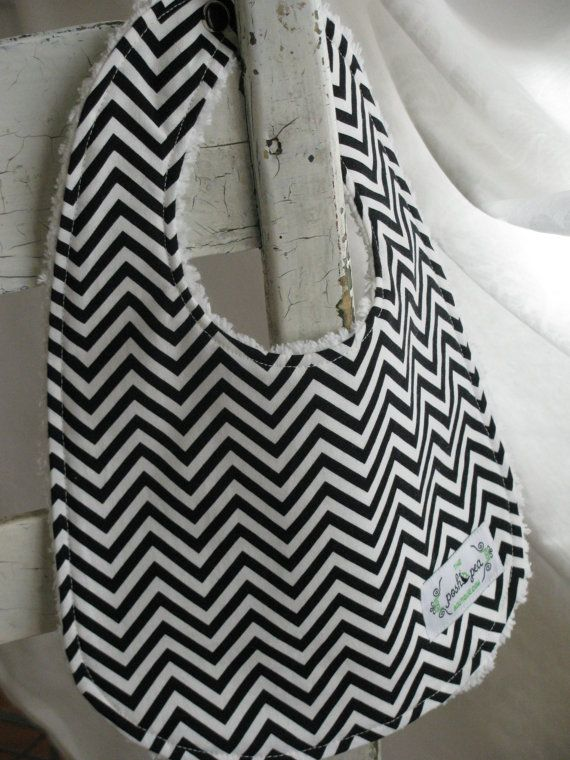Chenille Baby Bib - Chevron Stripe in Black & White - Gender Neutral - Boy or Girl