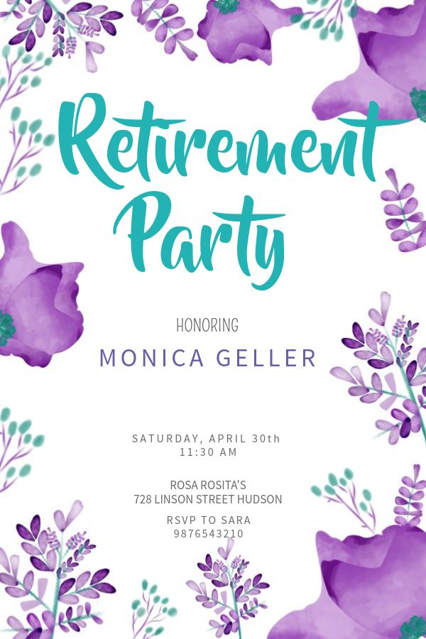 Floral Retirement Party Poster Template Click To Customize